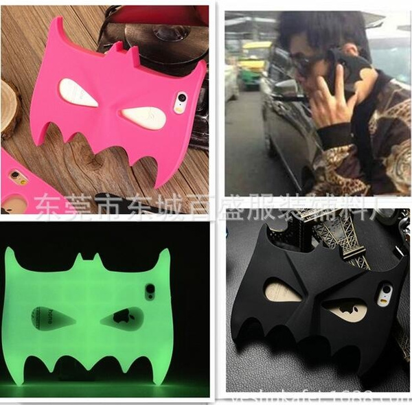 3D Cartoon Batman Mask Soft Silicon Cool Cover Back Phone Case for IPhone Glow In The Dark