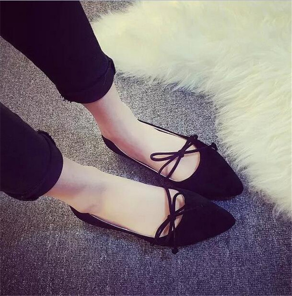 Picture of Women Fashion Casual Pointed Toe Bowknot Loafers Comfy Flat Ballet Shoes Party