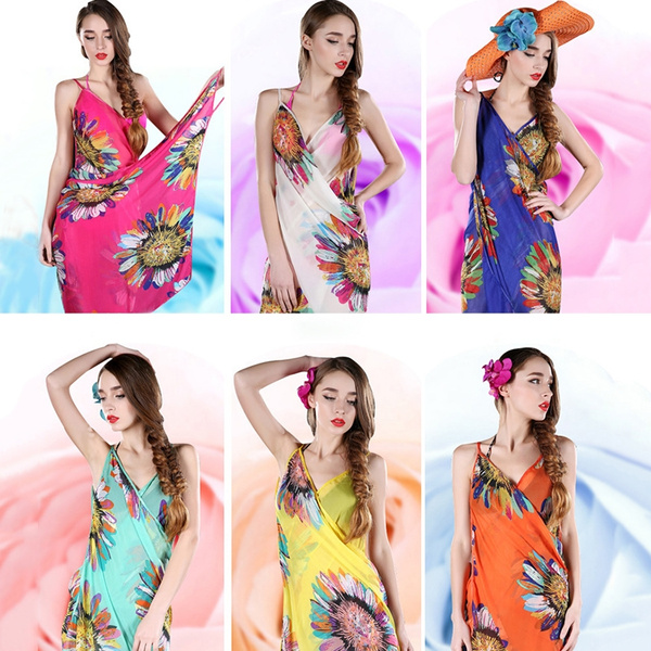 f046f7f0aa Women Sexy Chiffon Bikini Cover Up Beach Swimwear Dress Scarf Pareo Sarong  Wrap Fighting Girl SHANSHAN | Wish