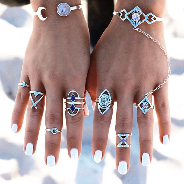 Picture of 8pcs/set Fashion Gypsy Vintage Silver Plated Crystal Knuckle Rings Set For Women Jewelry Color Silver