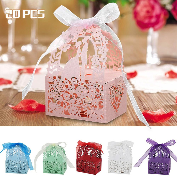 Picture of Laser Cut Romantic Diy Gift Candy Boxes Wedding Party Favor With Ribbons Bridal Anniversary Party Wedding Banquet Boxes 20pcs
