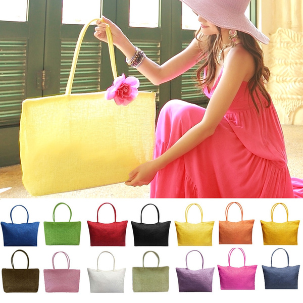 Picture of Simple Candy Color Large Straw Beach Bags Women Casual Shoulder Bag