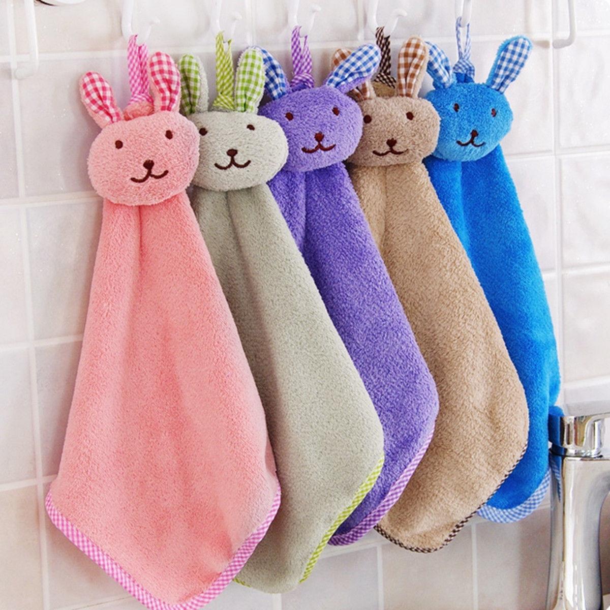 Picture of Baby Hand Towel Cartoon Animal Rabbit Plush Kitchen Soft Hanging Bath Wipe Towel