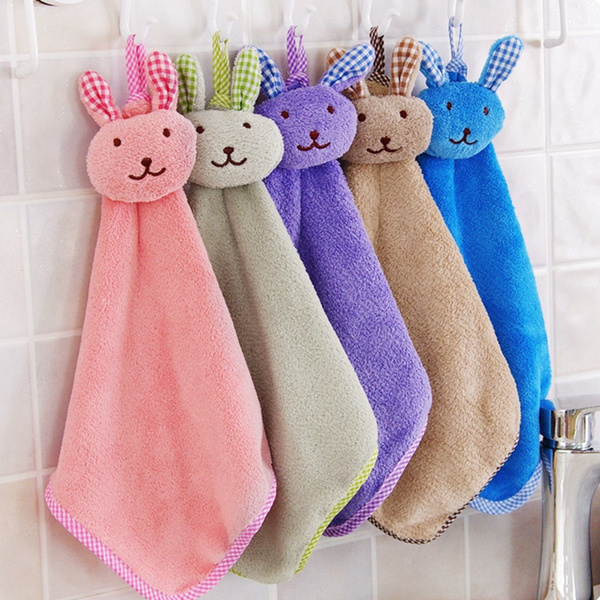 Baby Hand Towel Animal Cartoon Rabbit Plush Kitchen Soft Hanging Bath Wipe Towel