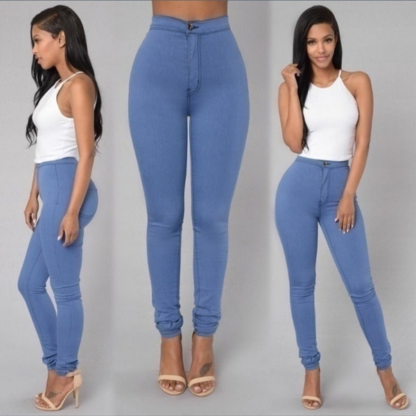 Womens Slim Waisted Trousers Jeans 6 Colors Casual Jeans Vintage Denim Pants