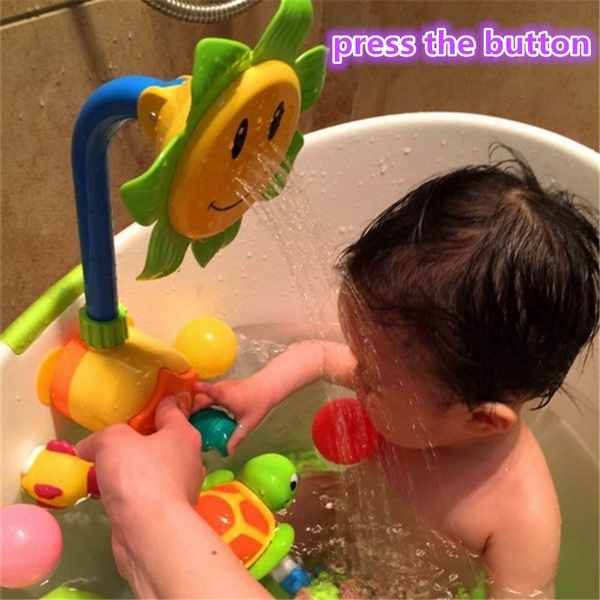 Wish | Kawaii Baby Bath Toy Press Sunflower Shower Faucet Bath ...