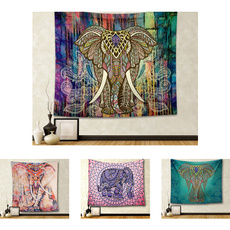 Hippie Elephant Bohemian Mandala Tapestry Wall Hanging Printed Home Decoration