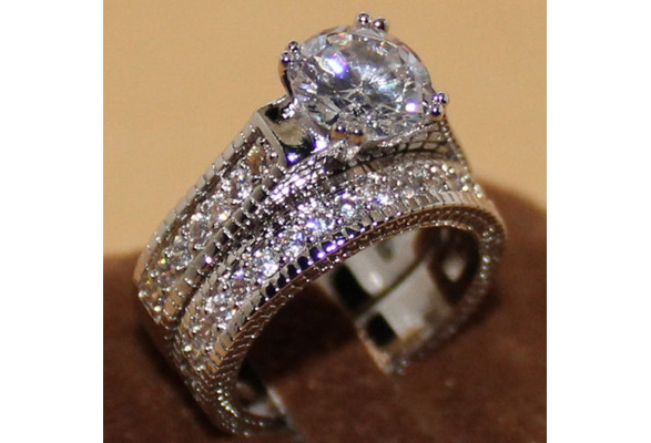 Womens Vintage White Topaz Diamonique 925 Sterling Silver 2-in-1 Wedding Band Ring Set