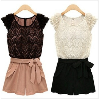 Picture of Womens Korean Style Piece Pants Lace Shorts Belt Jumpsuit