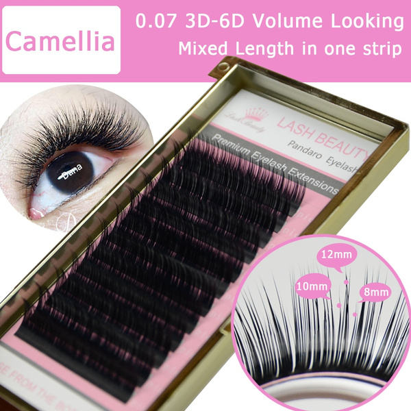 0 07 C/D curl Camellia Eyelash Extension Volume Fan Eyelash Extensions  Mixed Length in One Lash Strip Golden Fancy Box