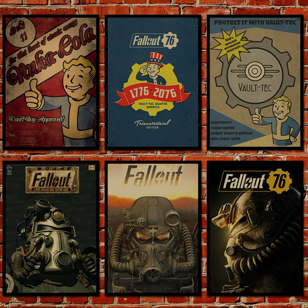 Picture of 8 Kind Fallout 4 Brown Paper Pipboy Nukacola Vintage Game Poster 11.616.5 Inch