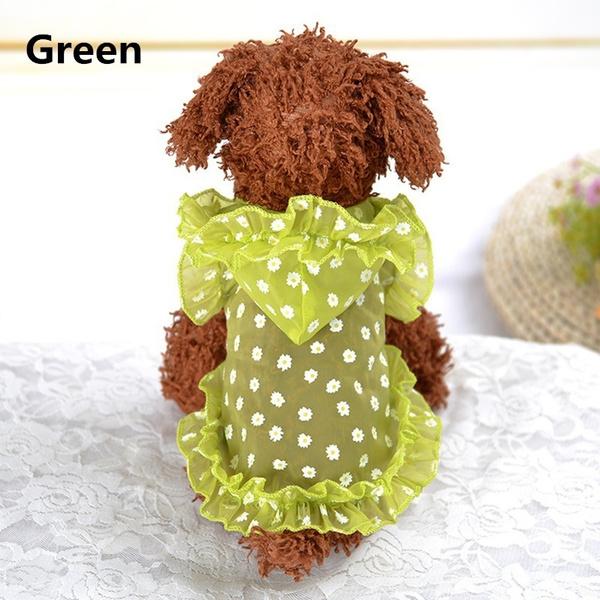 Spring / Summer Pet Dog Dress Bowknot Floral Princess Skirt Cute Puppy Teddy Dog Clothes