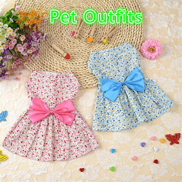 Spring / Summer Pet Dog Dress Bowknot Floral Princess Skirt Cute Puppy Teddy Dog Clothes