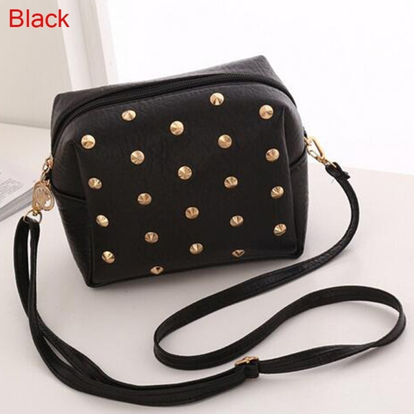 Picture of Fashion Girls Women Messenger Bags Small Rivet Shoulder Pu Leather Casual Evening Phone Pouch