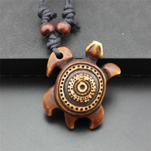 Men Souvenir Necklace Lucky Turtle Pendant Necklace Imitation Turtle Bone Yak Bone Carving Pendant Wish