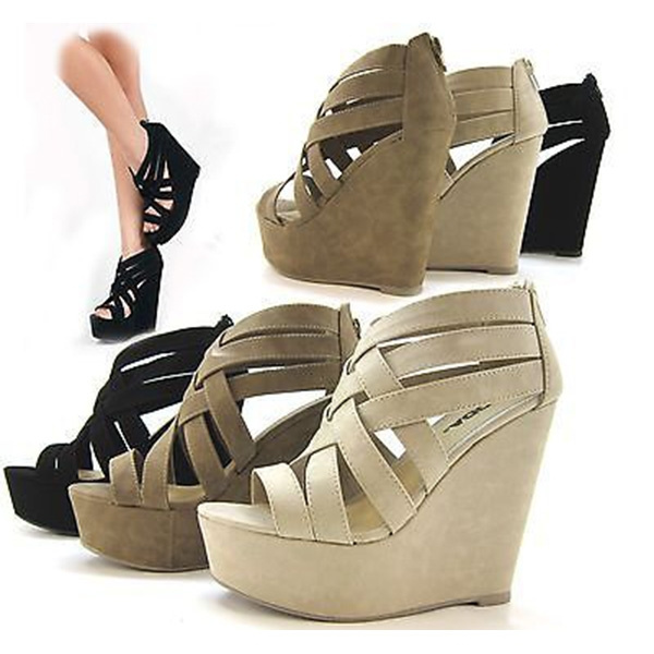 Picture of New Women Summer Wedge Sandals Cute Brown Strappy Sandals Wedges Pumps