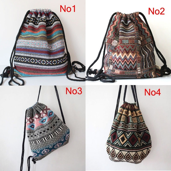Picture of Women Vintage Backpack Gypsy Bohemian Hobo Chic Hippie Aztec Folk Tribal Woven String Backpack