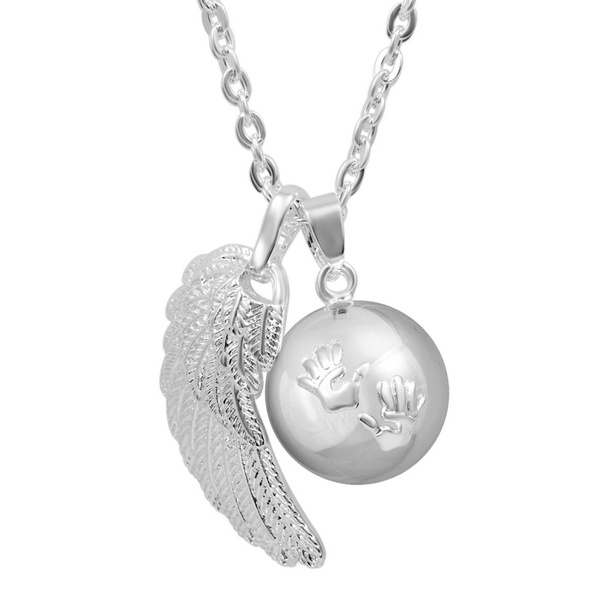 pregnancyjewelry, Sterling, Chain Necklace, angelwing