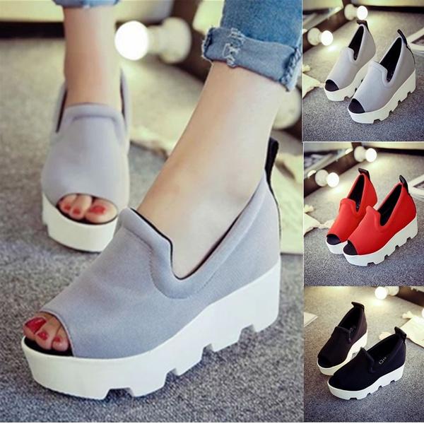 Chaussures Femme Plate,Forme Des Femmes Sandales Compensées Été 2016 Épais  Talon Haut Lettre Ouvert Toe Slip On Chaussures de Femmes  HR646