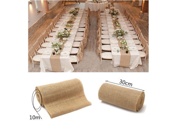 Fashion Hessian Jute Burlap Roll Table Runner Wedding Party Supplies Rustic Chair Table Decorations Accessories