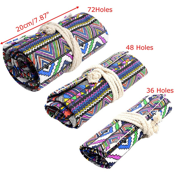 36/48/72 Holes Canvas Wrap Roll Up Pencil Pen Bag Holder Case Storage Pouch