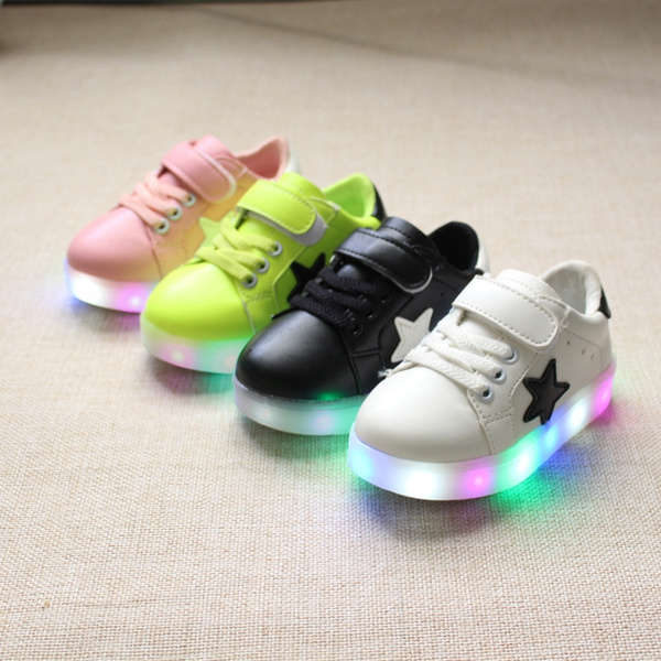 New Autumn Children's Shoes Children Shoes LED Flash Light Colorful Little Shoes Slip