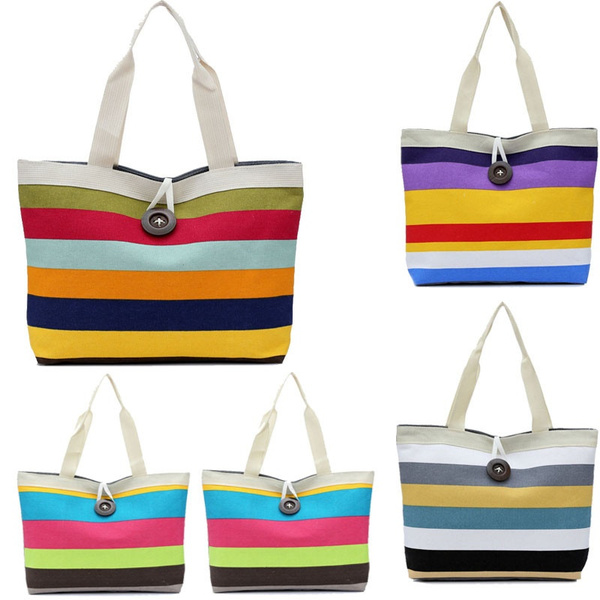 Picture of Fashion Lady Colored Stripes Shopping Handbag Shoulder Canvas Bag Tote Purse Women