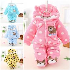 Newborn Baby Boy Clothing Fleece Winter Girl Romper Cartoon Infant Babies Clothes Meninas Bear Snowsuit Pink Blue Jumpsuits