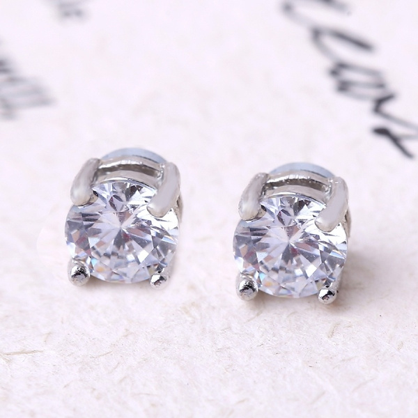 1c20b24c292a9 1 Pair Unisex Non Piercing Clip on Magnetic Magnet Crystal CZ Ear Stud  Earrings For Men and Women Gifts
