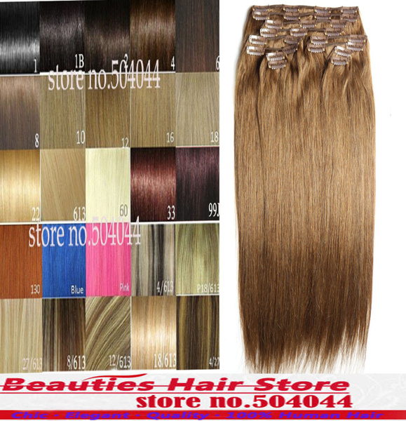 Wish 18 28200gset 100 Real Human Hair Full Head Clip In Remy