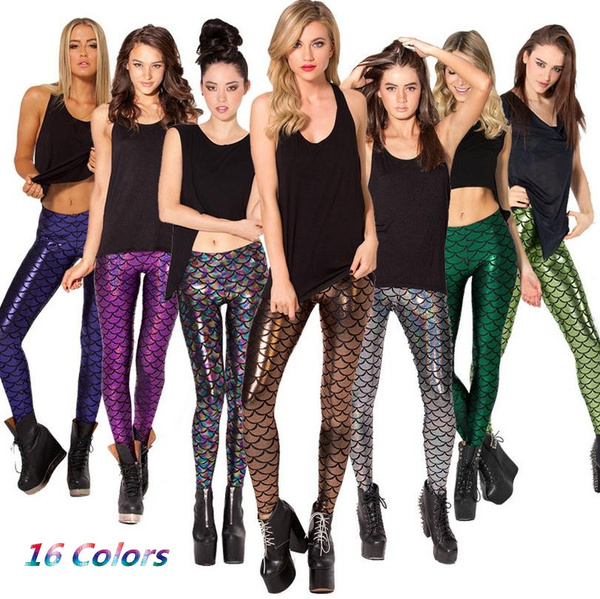1PC High Quality Women Mermaid Europe Fish Pattern Colorful Seamless Shiny Leggings