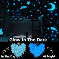 Plastic Wall Stickers Luminous Stars & Moon Glow in the Dark Blue 3cm-6.5cm