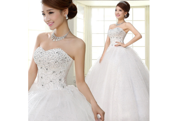 New Fashion Women Ruched Sequined Lace Up White Big Swing Wedding Dresses Plus Size S - XXXL