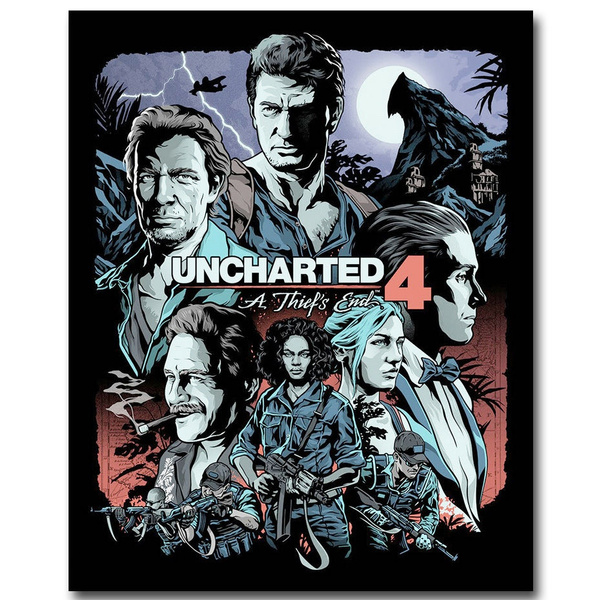 Uncharted 4 A Thief S End Game Art Silk Fabric Poster Print