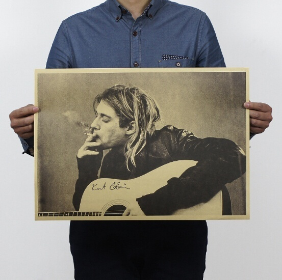 Picture of 1 Pc 20x14 Kurt Cobain/nirvana Frontman / Rock Poster / Kraft Paper Bar Decorative Painting