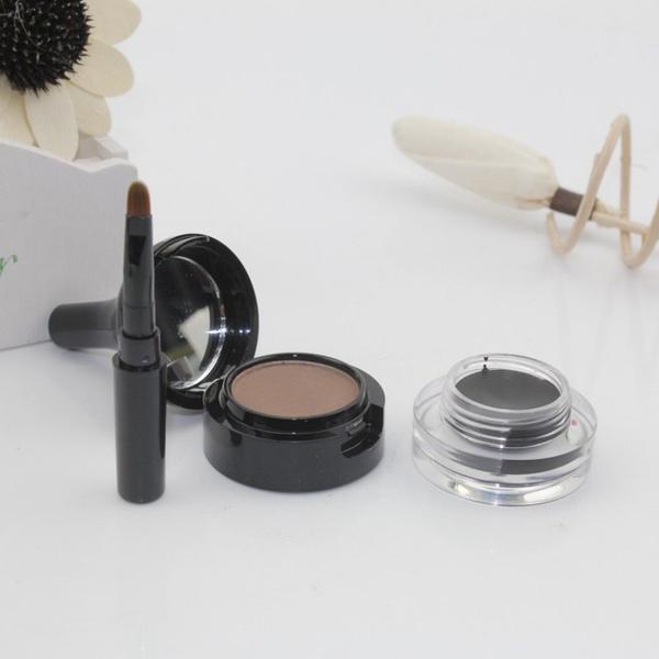 Picture of Makeup Waterproof Eyebrow Powder And Black Eyeliner Gel Set With Brush