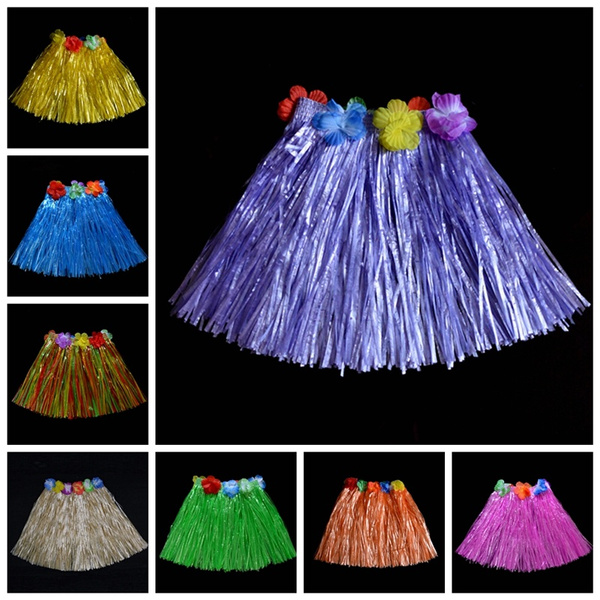 New Kids Adult Hawaiian Hula Grass Skirt Flower Wristband Party Beach Dress*