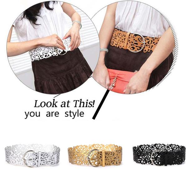 Stylish Hollow Buckle Wide Belt Waistband PU Leather Women Lady Stretch Belt