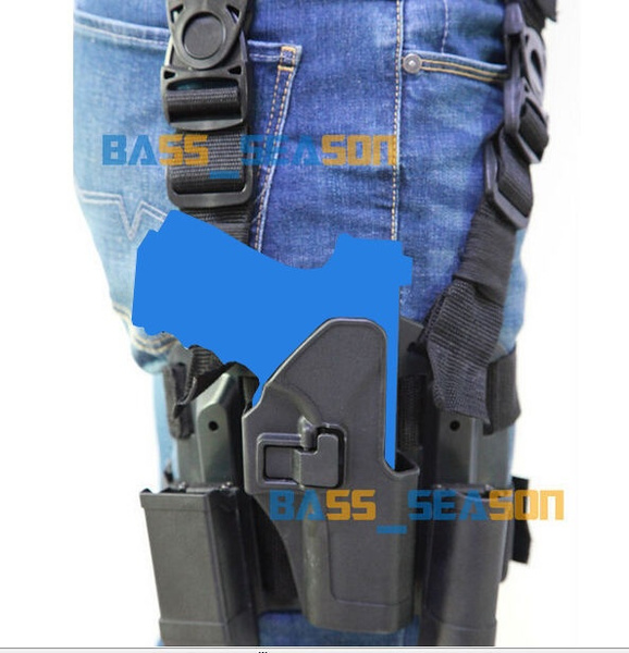 4in1 Tactical Drop Leg Thigh Rig Holster With 2 Pouches for Glock 17 18 22 23