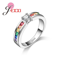 Sterling, Fashion, czcrystalring, rainbowgemstonering