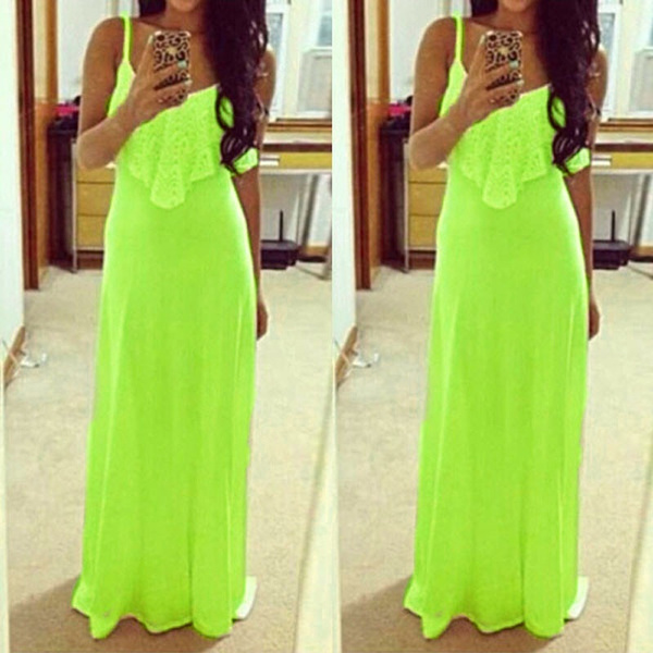 Wish Hot Sales Neon Color Women Long Dresses 2016 Sexy Spaghetti