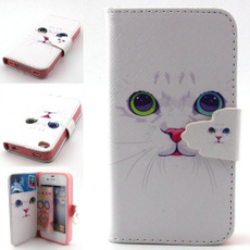 Lovely cat Pattern Flip Leather Magnetic Wallet Credit/Money Case Cover For iPhone 4G 5G 5C 6 6 Plus/Samsung Galaxy S3 S4 S5 S6 S6 Edge / Note 3/4/5/Grand Prime G530 S7 S7 Edge