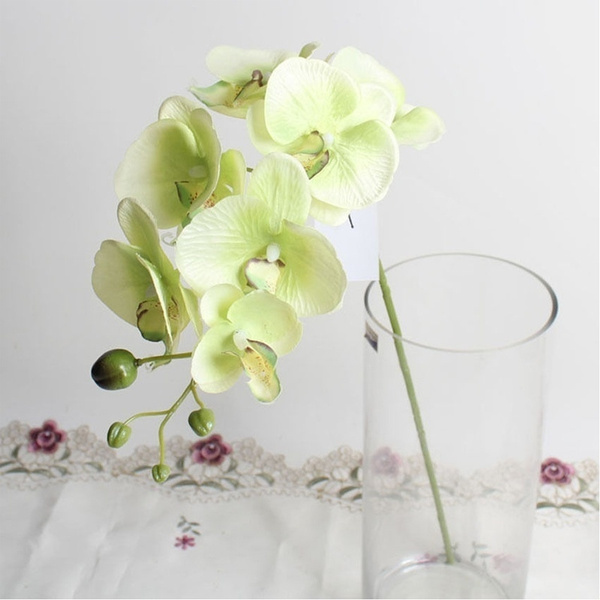 Picture of 1pc 7 Flower Heads Home Fashion Craft Decoration Artificial Butterfly Orchid Silk Flower Bouquet Phalaenopsis Wedding Decal