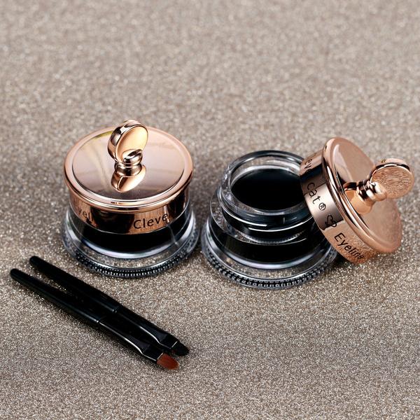 Picture of Clever Cat Black Eye Liner Eyeliner Gel + Brush Makeup Cream Waterproof 4g