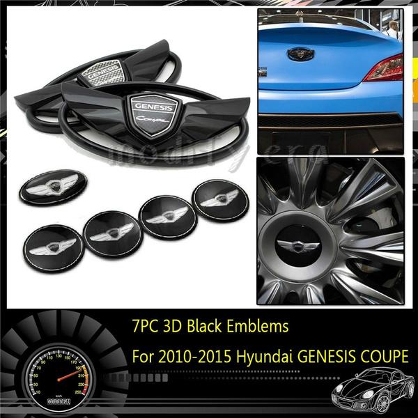 7Pcs BLACK SILVER COLOR Car Emblems Badges For 2010-2015 Hyundai GENESIS COUPE