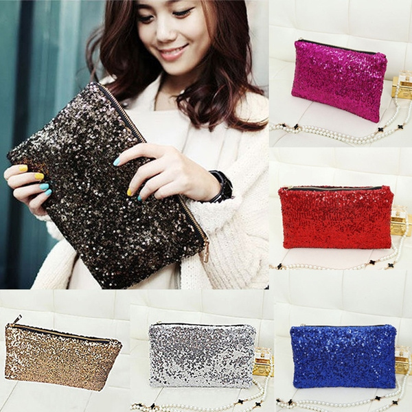 Picture of Women Shiny Sequins Dazzling Glitter Bling Evening Clutch Party Bag Handbag 8colors
