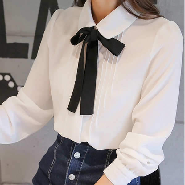 White Chiffon Shirt, collegestyle, Fashion, knot