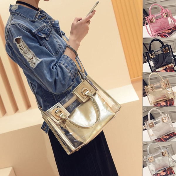 Picture of Size 261220 Cm 5 Colors Women New Fashion Handbag Jelly Bag Transparent Trend Shoulder Bag Ladies Casual Messenger Bag Lovely Beach Tote Bags