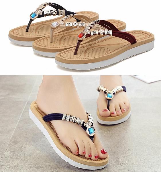 Picture of Summer Women Beach Sandals Flat Shoes Thongs Slippers Flip Flops