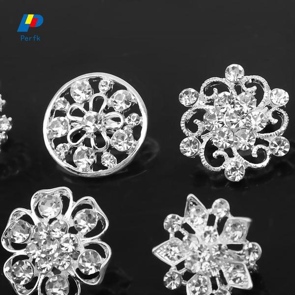 Fashion Women Bridal Gold Plated Rhinestone Crystal Flower Brooches Pin Jewelry
